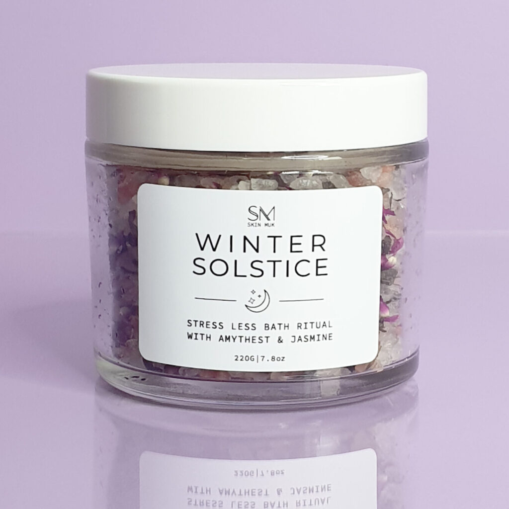 A Jar of mixed bath Australia with purple flowers | bath salts Australia