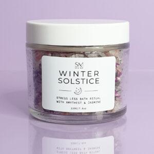 A Jar of mixed bath Australia with purple flowers | bath salts Australia