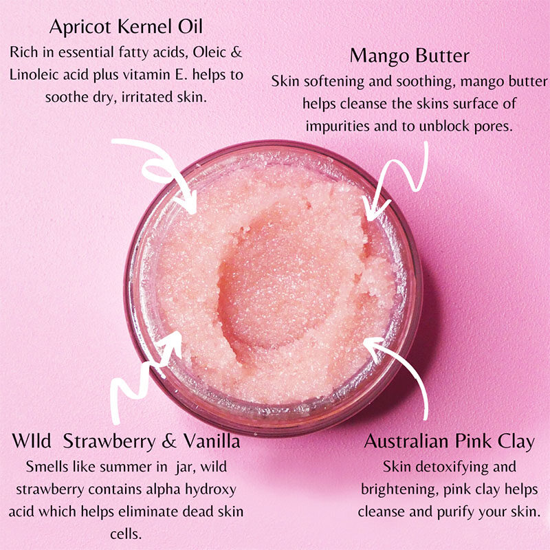 infographic Pink Nebula Strawberry Organic Body Exfoliant