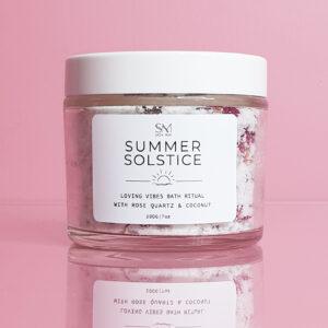 A Jar filled with a pink background labelled Summer Solstice Bath Ritual | Salt Bath Australia